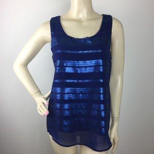 Mine blue sequins tripes Top Women's Large